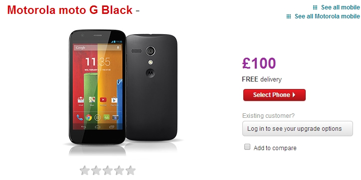Vodafone Payg Top Up >> Moto G Now On Sale Through Vodafone For 100 Plus 10 Payg Top Up