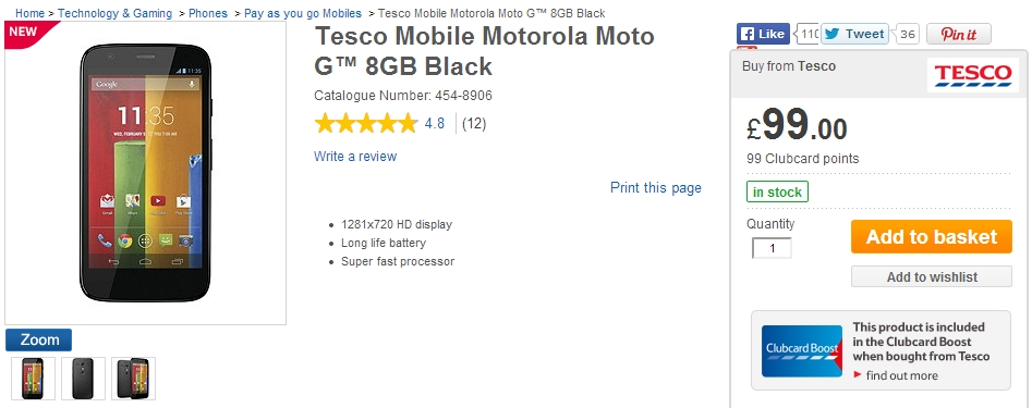 Tesco motorola moto g deals