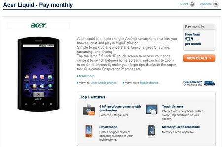 acer liquid carphone warehouse contract
