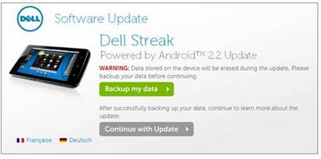 dell streak android update