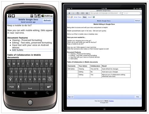 Support for editing Google Docs on Android 2.2 phones ...