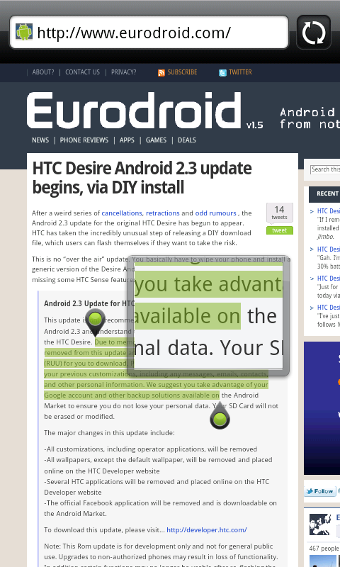 was getting htc desire hd firmware update download every