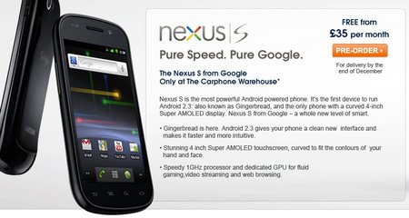 nexus s carphone warehouse