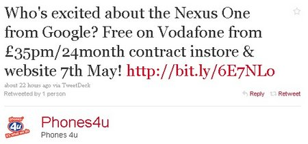 phones4u nexus one vodafone