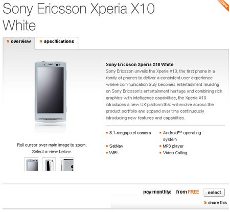 sony ericsson x10 orange white