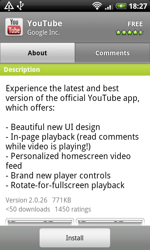 YouTube busted out – now a standalone Android Market app | EURODROID