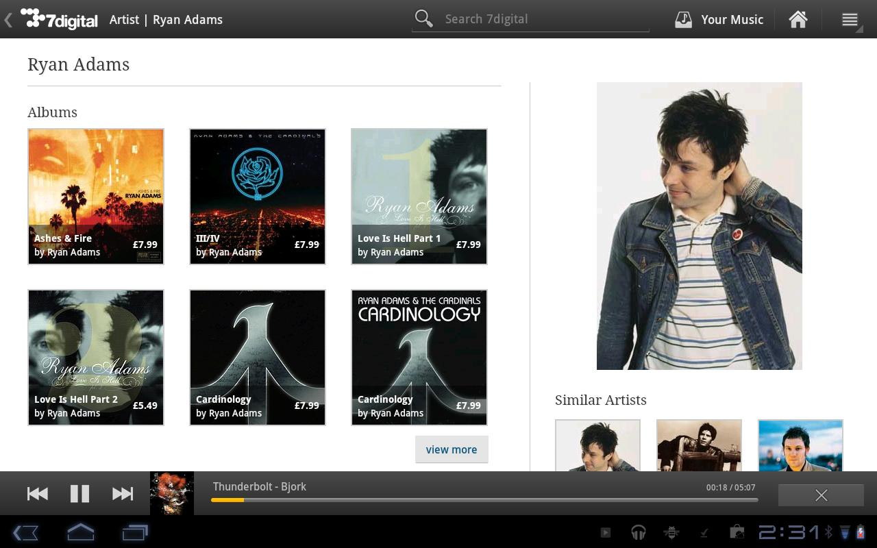 7digital Music Android app now has full Honeycomb tablet mode